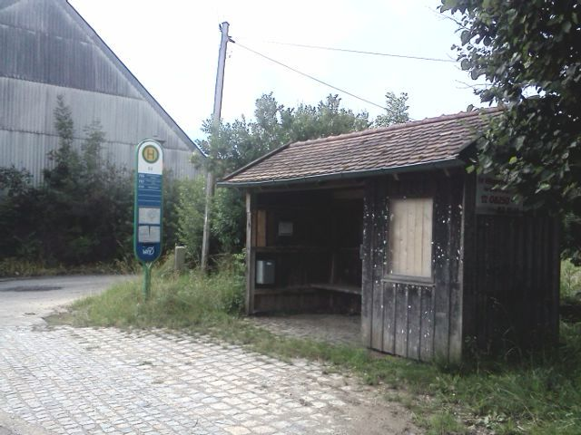 A old fashioned bus stop in Bavaria
