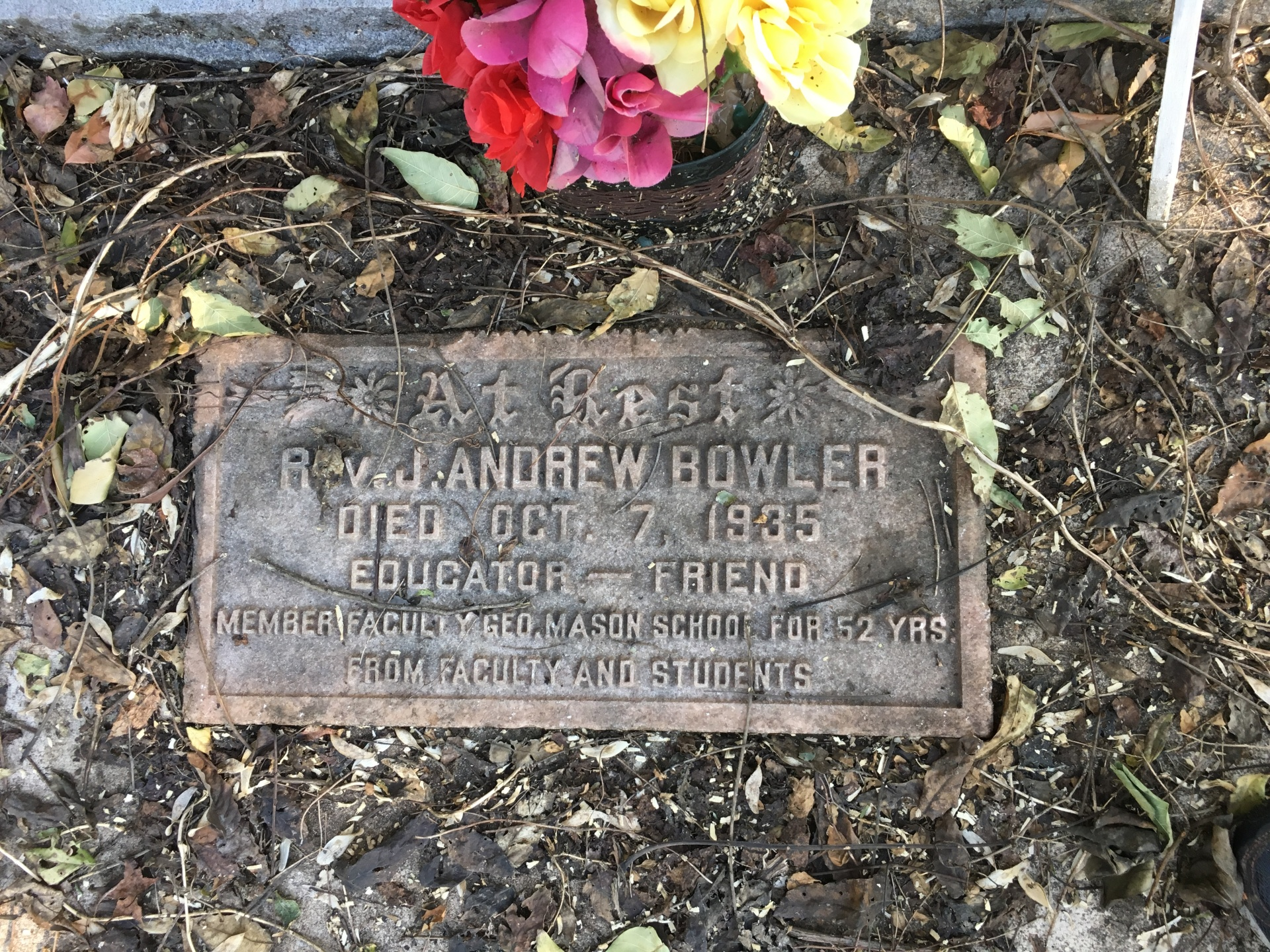 Rev. J. Andrew Bowler's Foot Stone