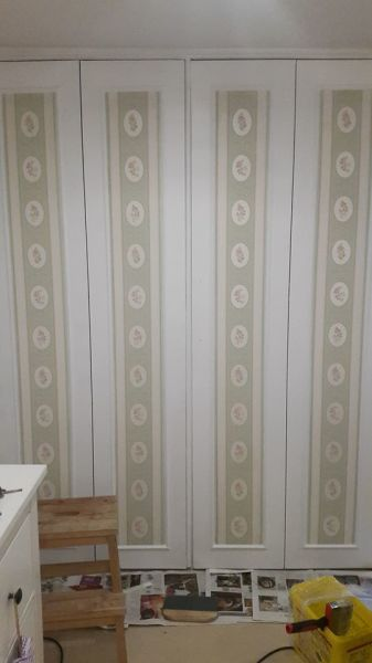 Wallpaper Panels on Wardrobe