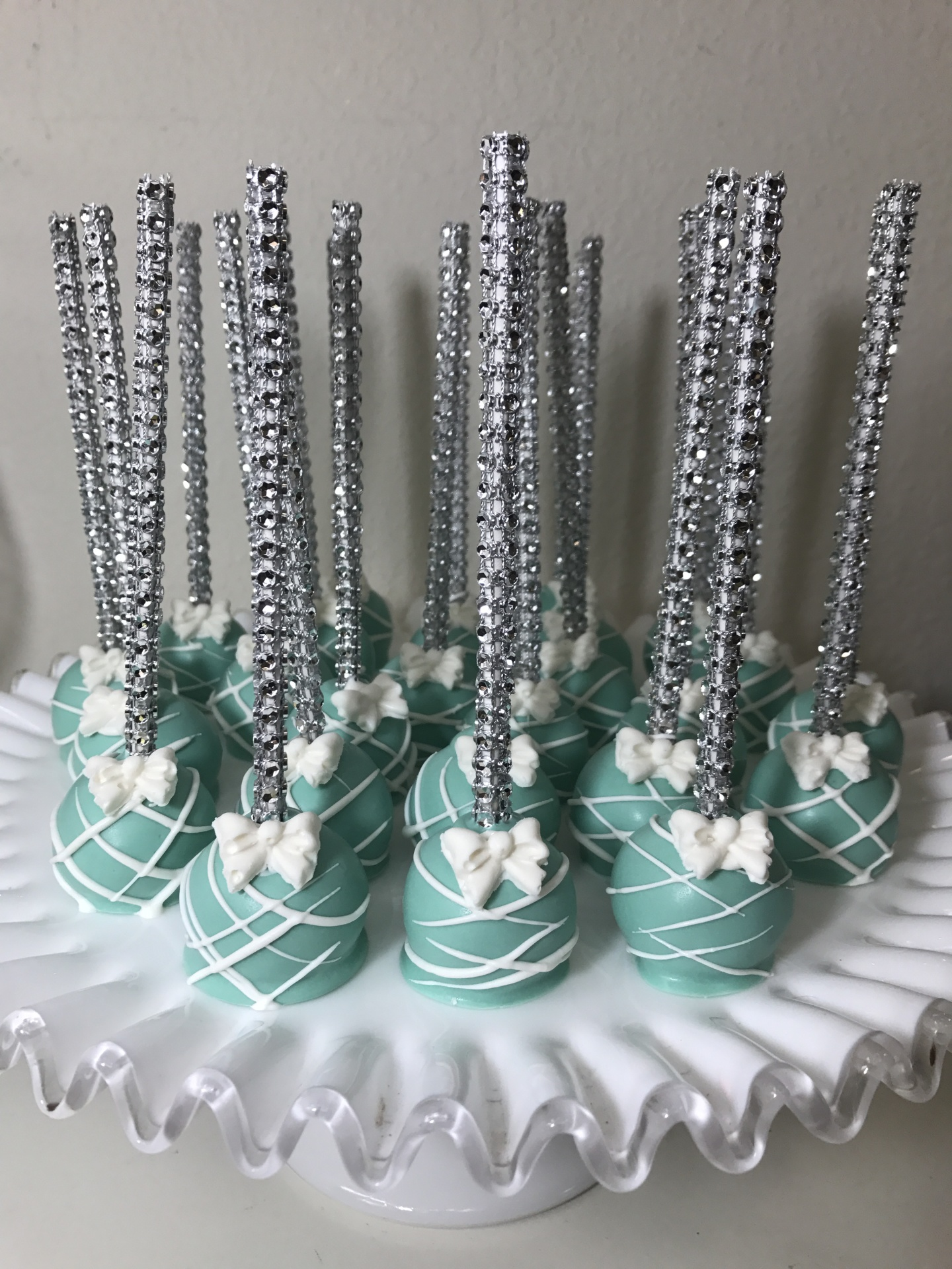 Tiffany Blue Cake Pops with Bling Stick