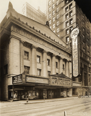 vintage photograph of the mcvickers theatre chicago downtown