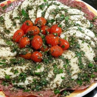 Italian Salami, Tomato and Mozzarella Plate