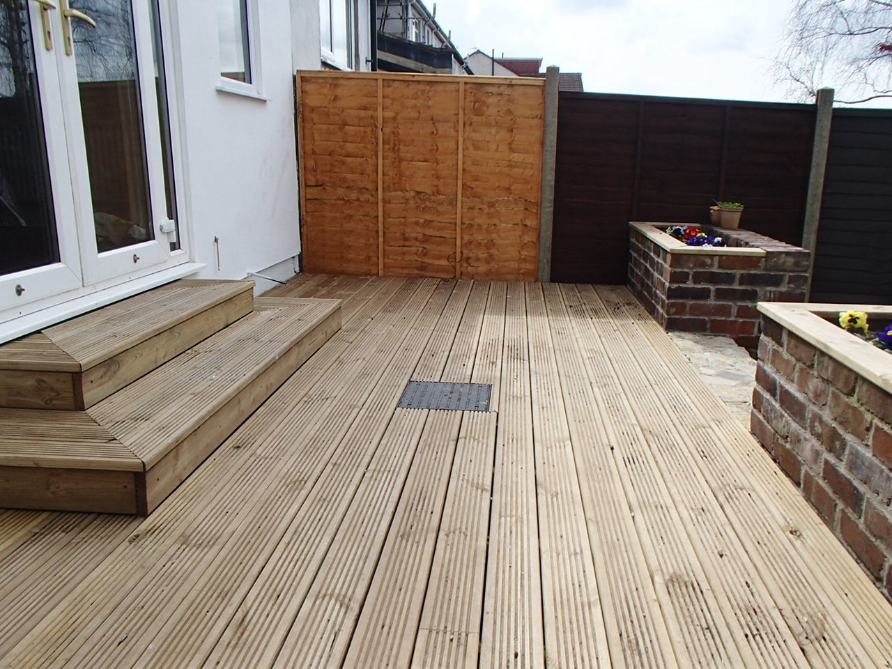 The finished decking.  Time to crack open a beer and try it out.