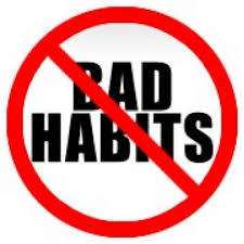 "A picture of the words ""bad habits"" with a cross through them"