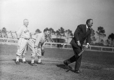 Ty Cobb Bats In Street Clothes, Manager McGraw Looks On