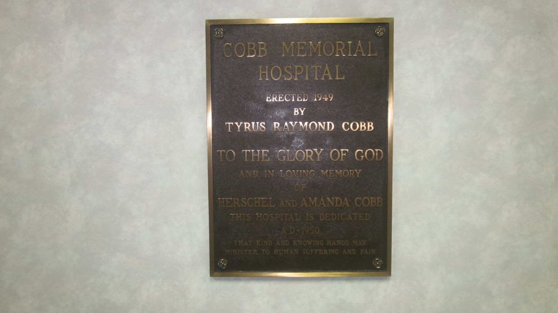 Plaque At Cobb Memorial Hospital
