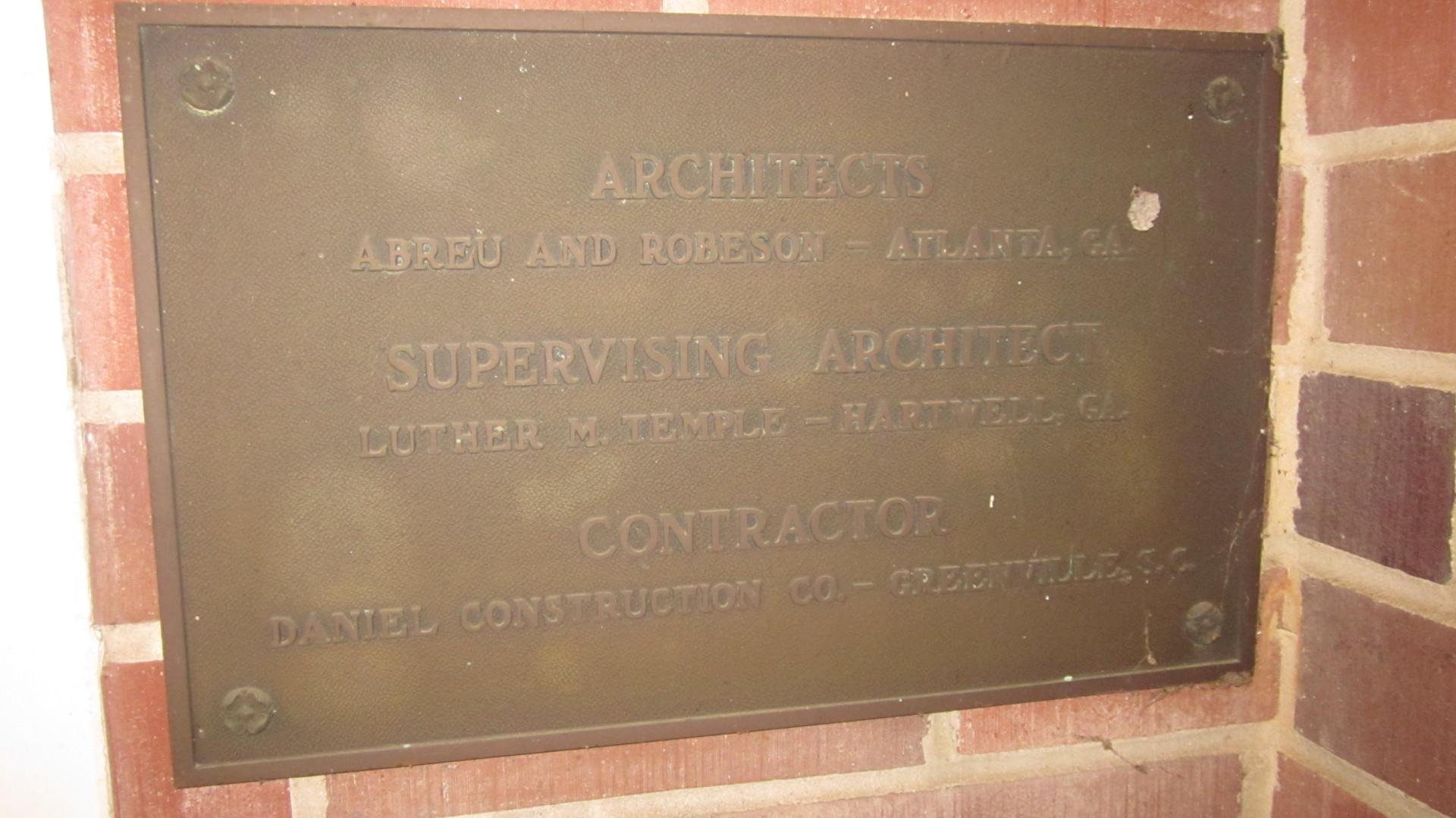 Architecture Plaque For COBB Memorial Hospital
