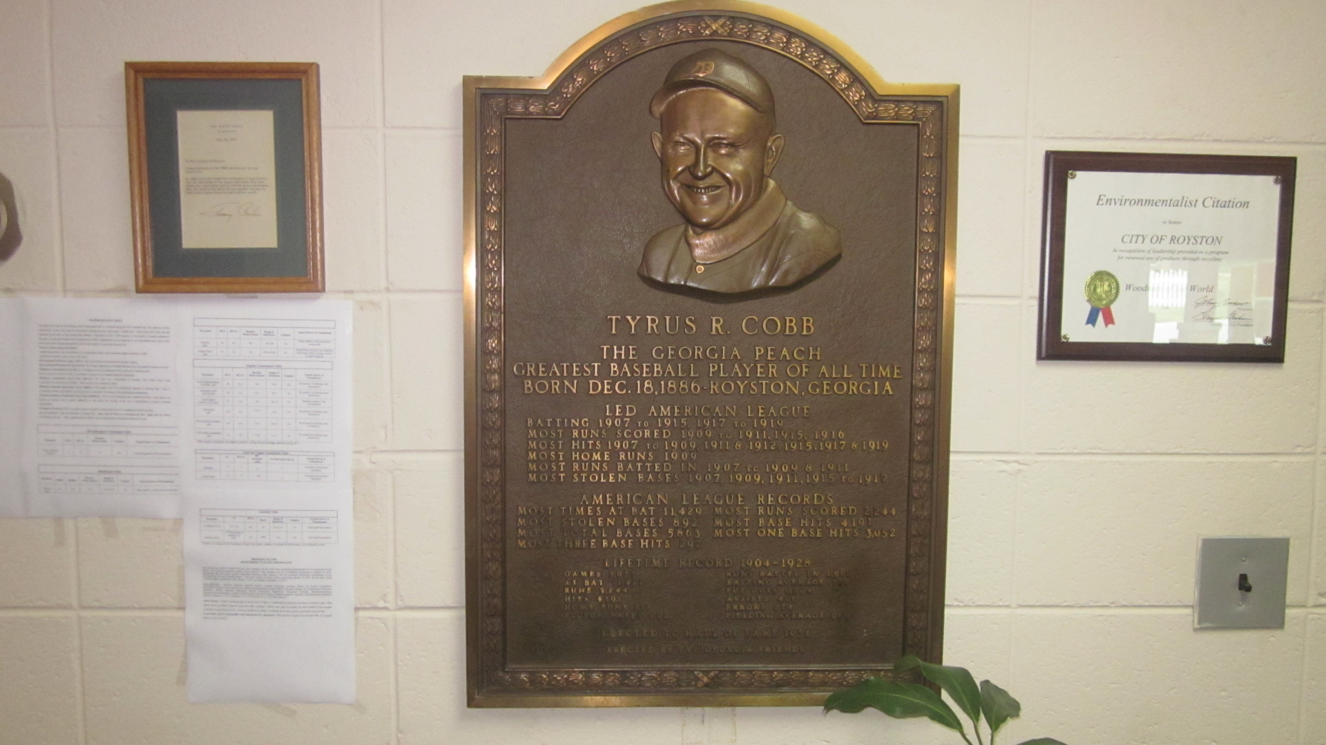Ty Cobb plaque in City Hall Royston, Georgia