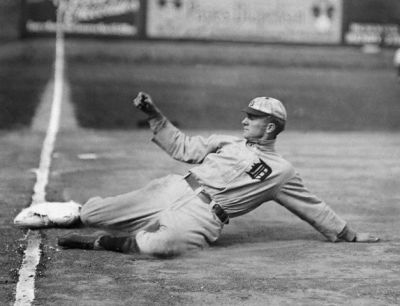 Ty Cobb Slides Into Third Base
