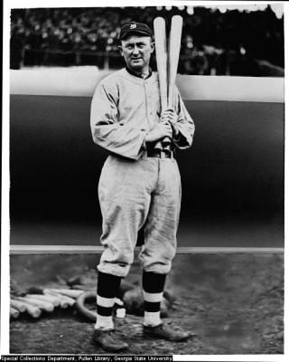 Ty Cobb Warms Up With Three Bats On Deck