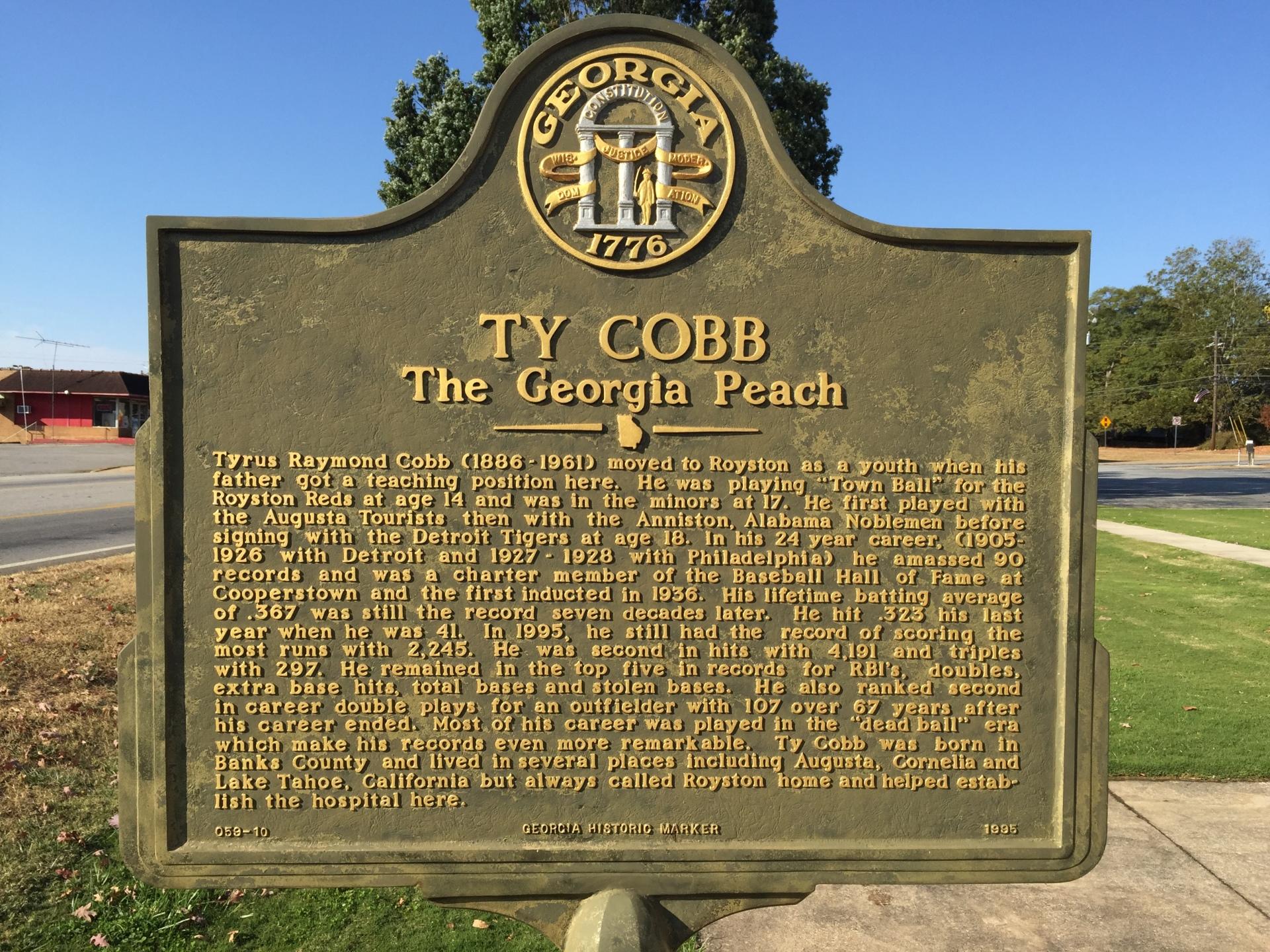 Ty Cobb Historical Marker