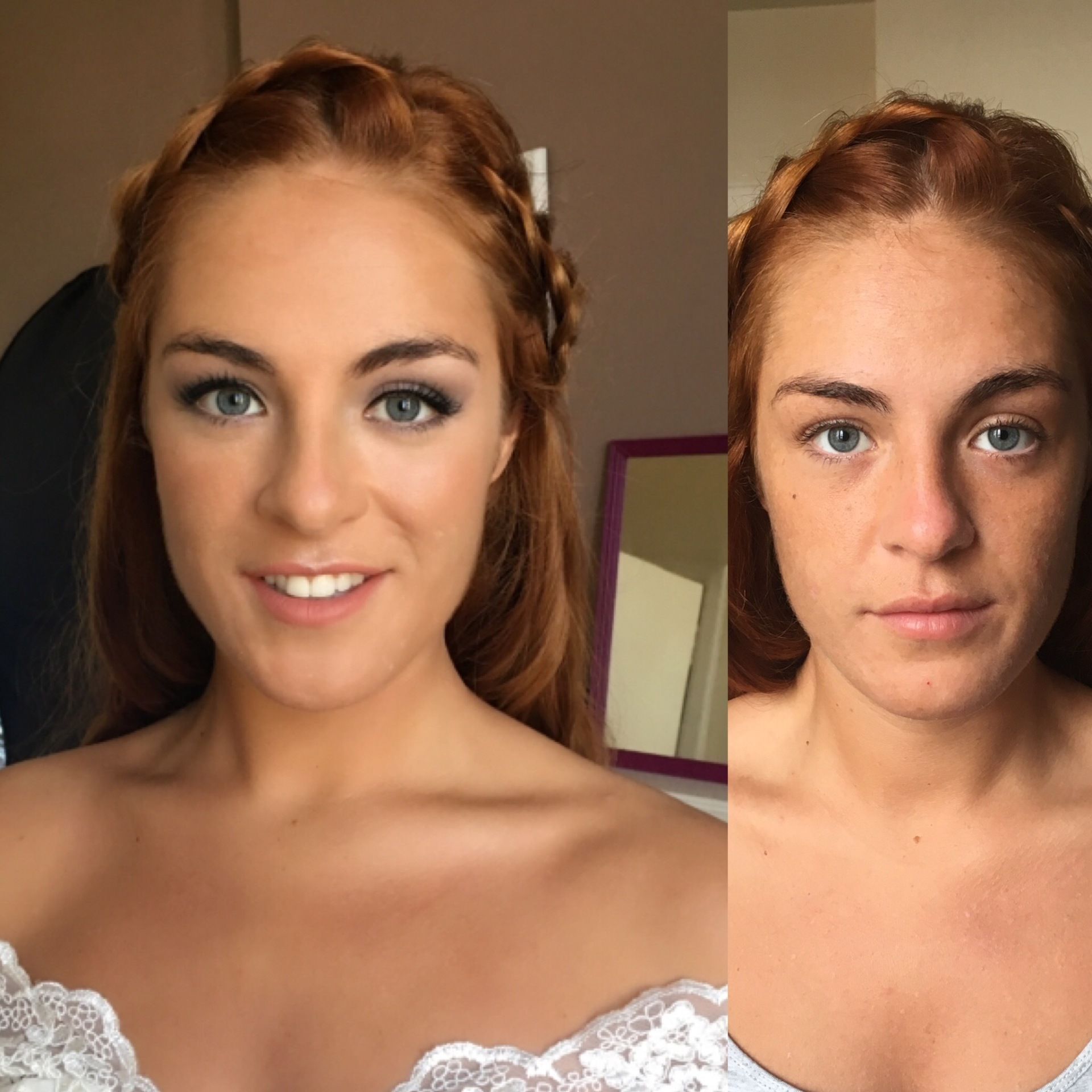 Bridal makeup before and after