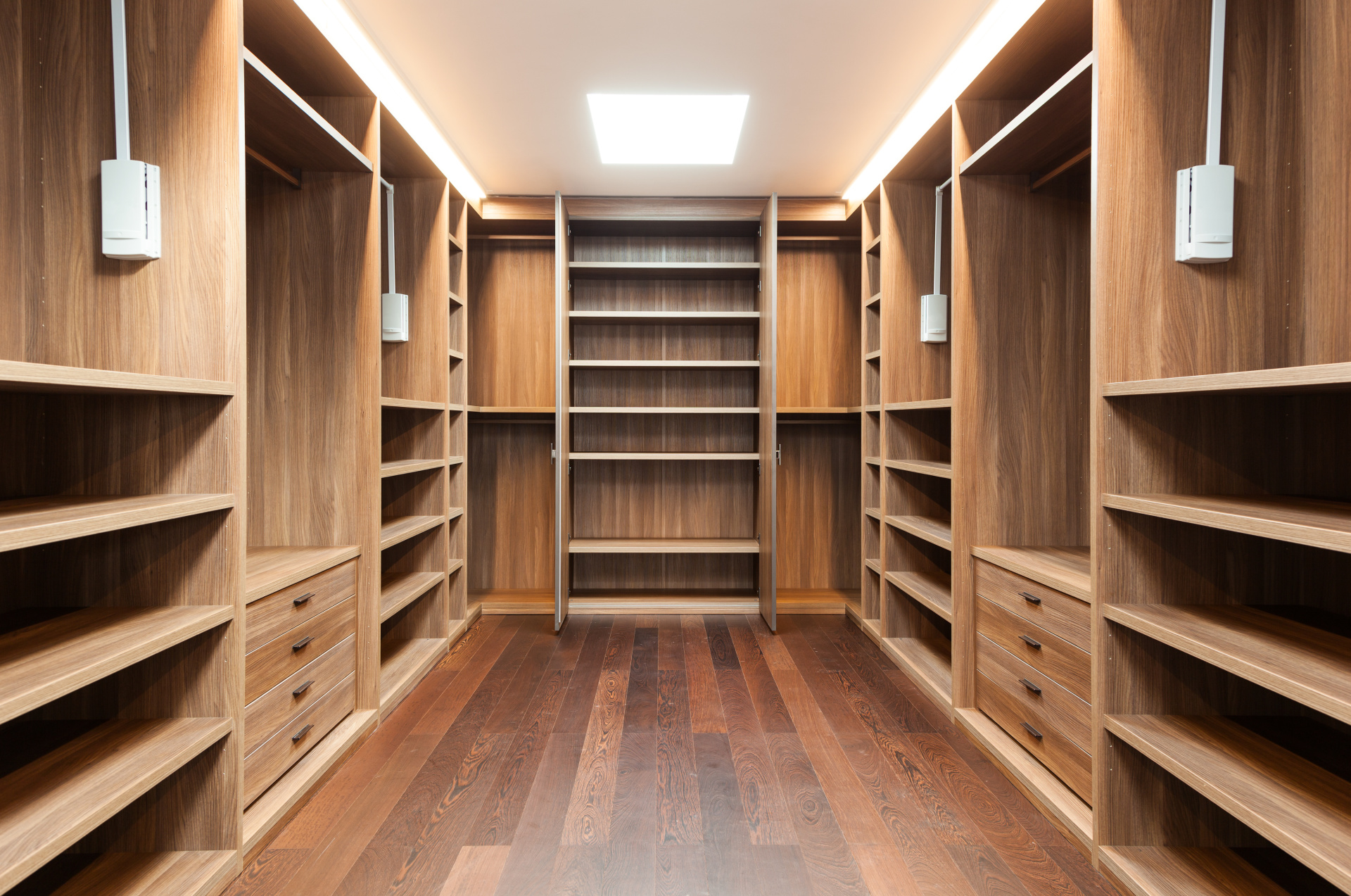 Interior of modern house  wide wooden dressing room, interior of a modern house Landsons.co.uk