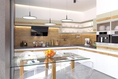 Modern-kitchen-material - mdf + grooved solid oak (hanhold)