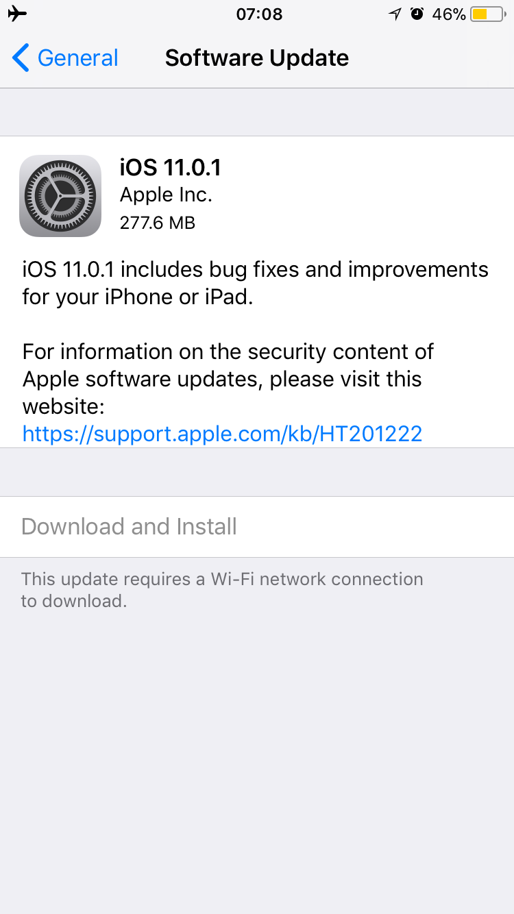 iOS 11.0.1 Actualización de rendimiento.
