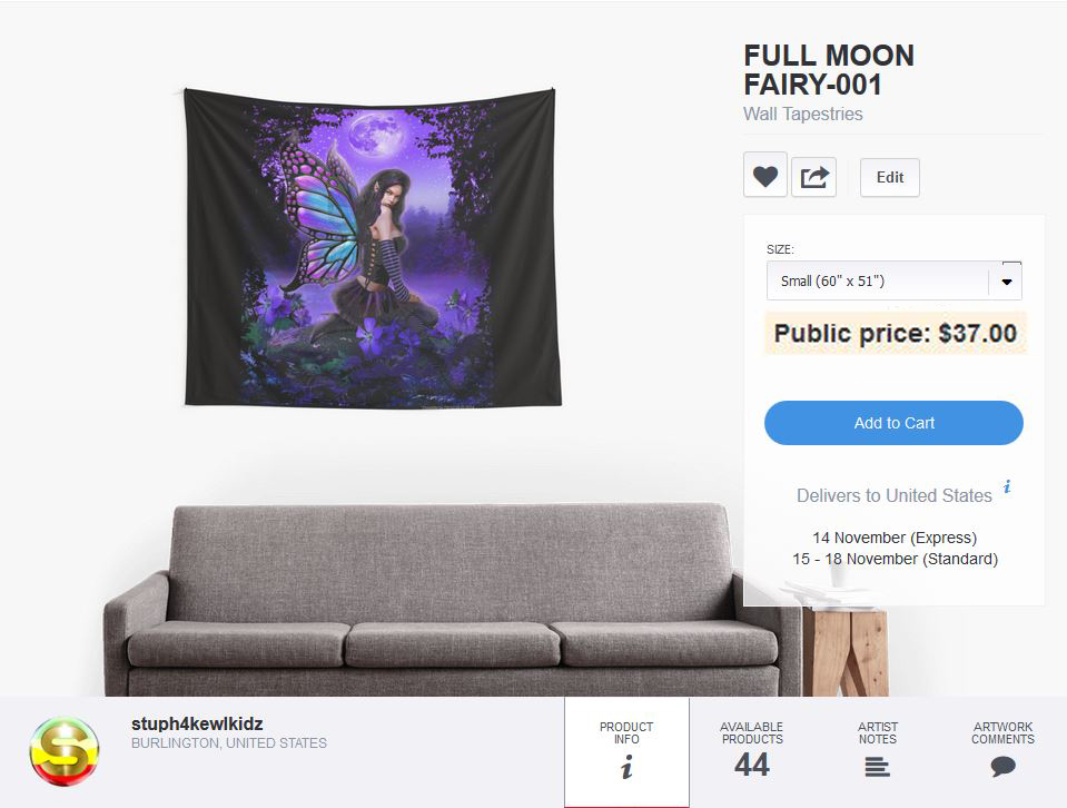 #stuph4kewlkidz #bluemoonfairy #fairy #fantasy #tapestry #fabricwallposter #wallhanging #fabricposter #clothposter #roomdecor #dormroomdecor #dormroom #decor