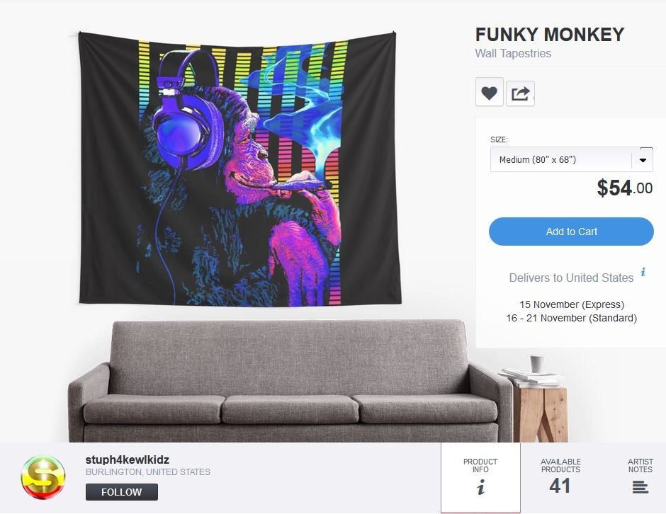 #stuph4kewlkidz #funkymonkey #funky #monkey #tapestry #tapestries #fabricwallposter #fabricwallhanging #decor #roomdecor #dormroomdecor #headphones #blunt #smokingblunt #hightimes #cannabisculture #ganja #eq