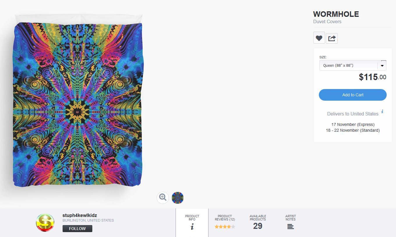 #stuph4kewlkidz #duvetcover #duvet #wormhole #fractal #trippypattern #trippy #bedding #bedroomdecor #funky