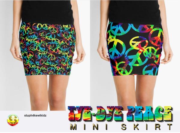 stuph4kewlkidz,tyedye,peace,symbol,miniskirt,boho,gypsy,fashion,urbanstyle,retro,pop,giftidea,pencilskirt,skirt,womansclothing