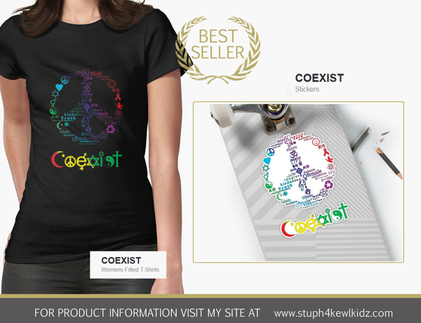 stuph4kewlkidz, coexist, peace, symbols, teeshirt, tshirt, shirt, sticker, decal, slaps, tapestry