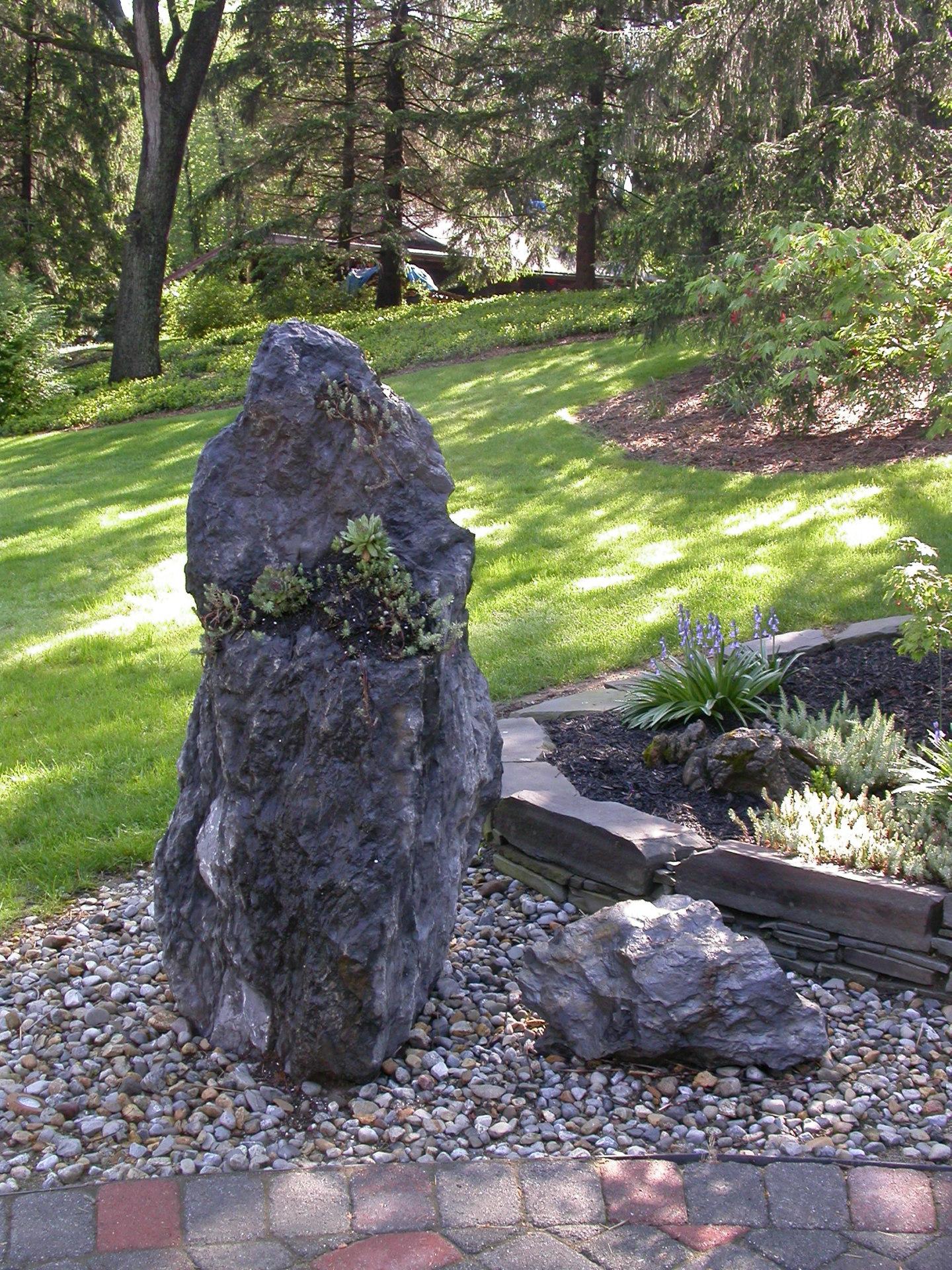 Large stone in garden