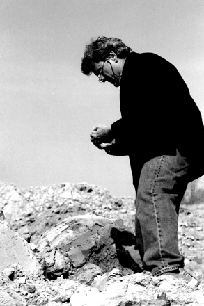 Peter Callas looking for clay