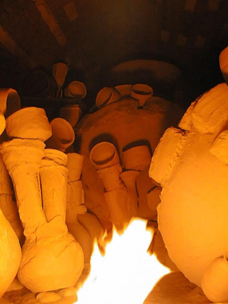 Double Necks being fired while inside the kiln