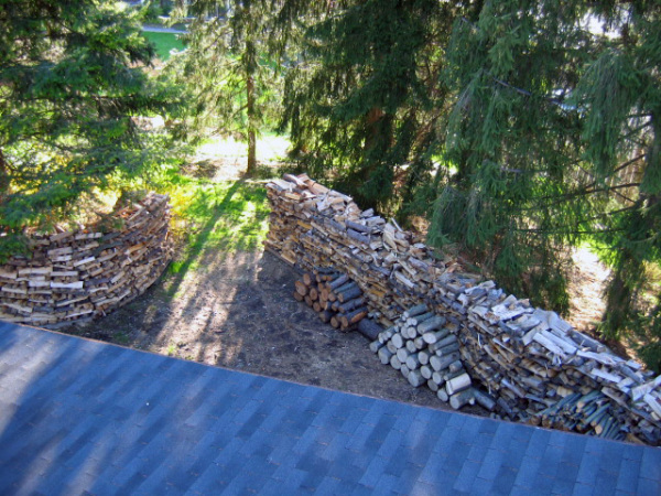 8 Cords of wood stacked for firing
