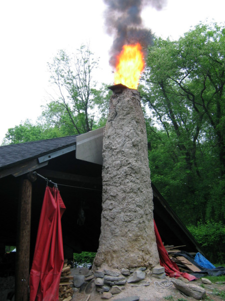 Belvidere Anagama Kiln being fired