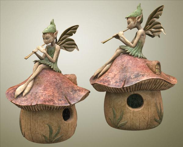 Fairy with Flute Birdhouse