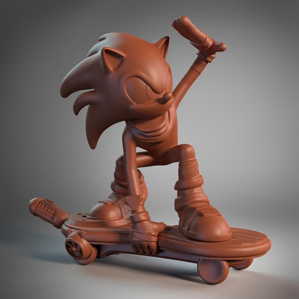 Sonic on Skateboard