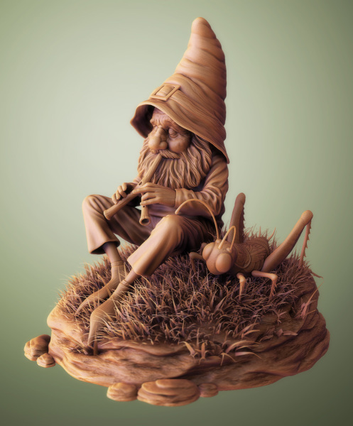Gnome With Grasshopper
