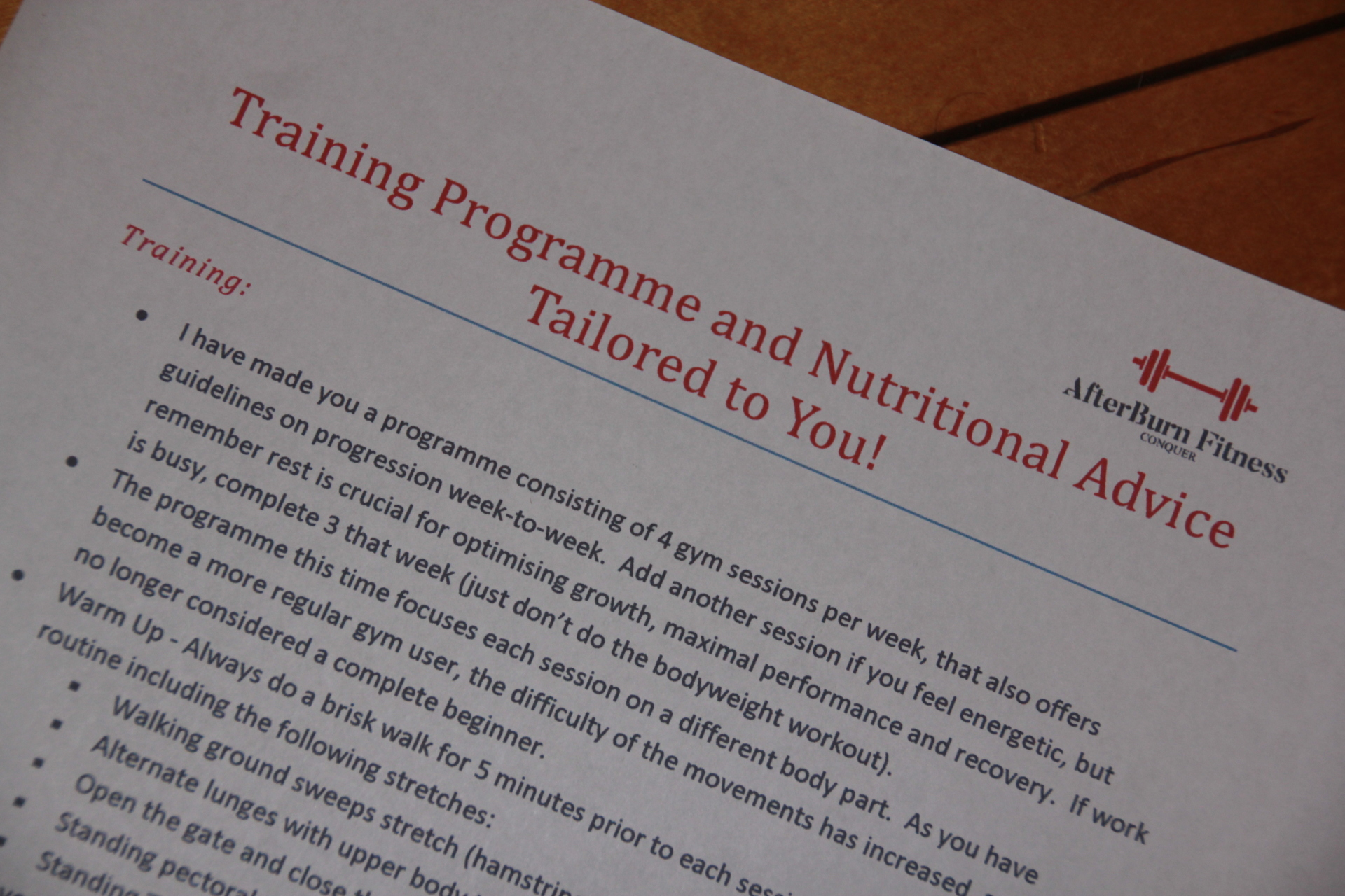 Training Programme and Nutrition
