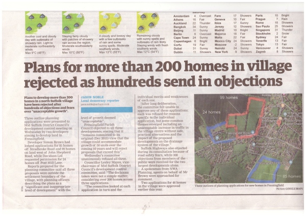 Fressingfield in Suffolk wins - NO TO 200 houses