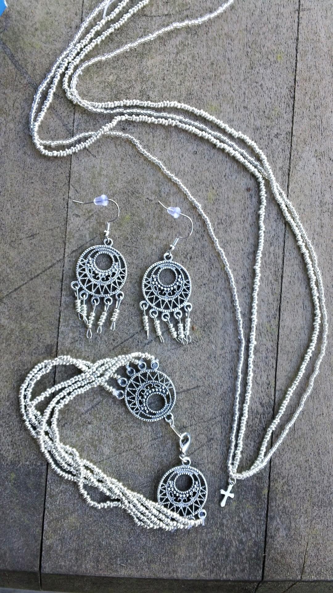 Handmade Necklace, Earrings & Bracelet -  Current Bid $22.00