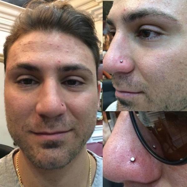Nostril piercing with Swarovski gem