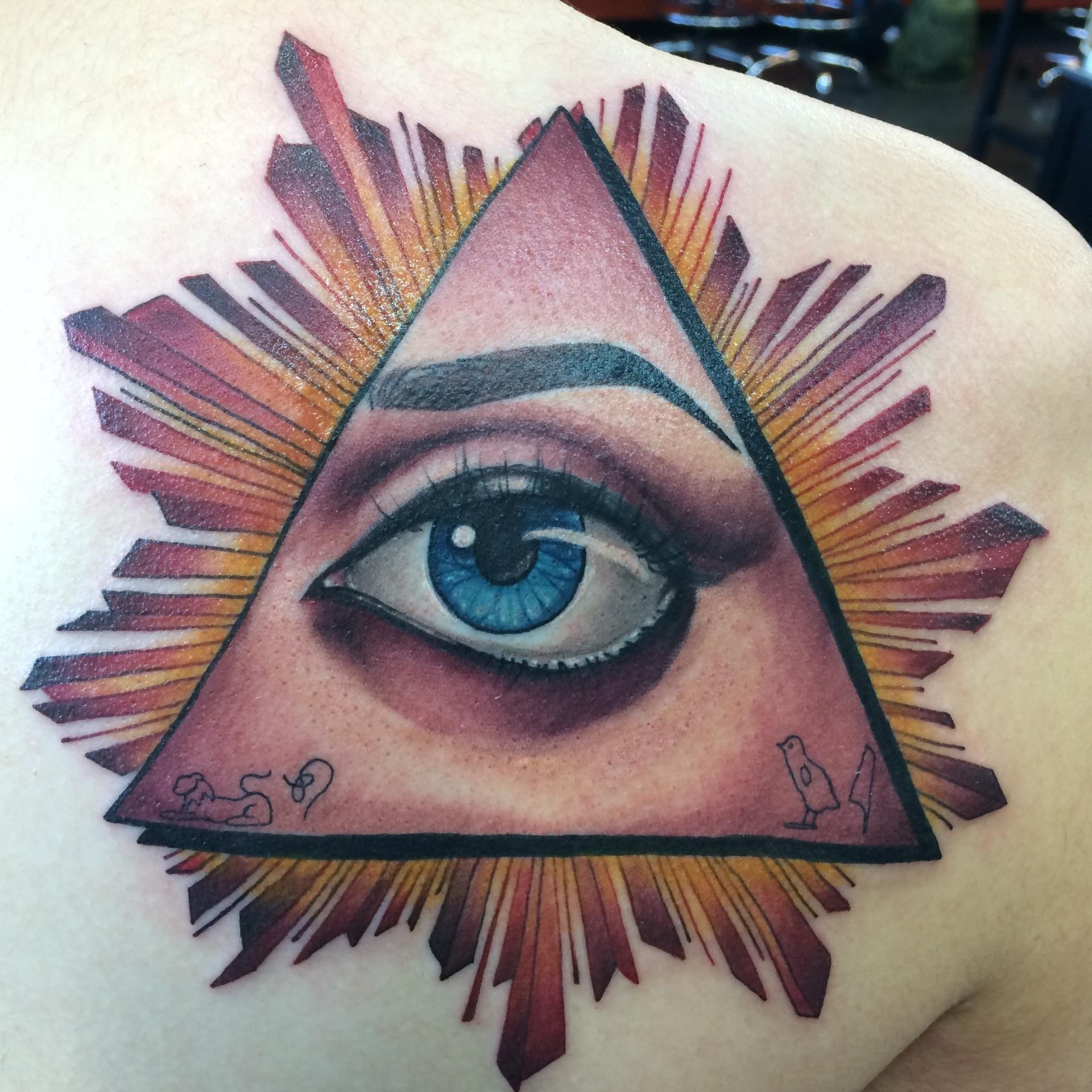 illuminati, allseeingeye, tattoo, eye tattoo, pyramid, color tattoo, art, nakota
