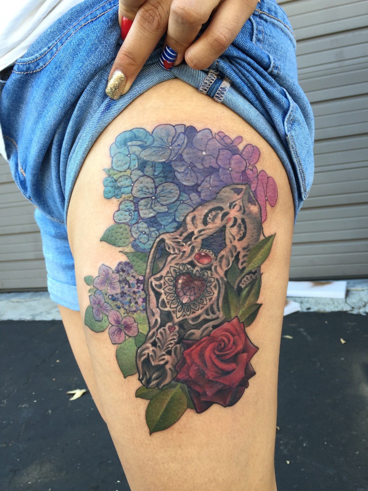 carved skull, tattoo, art, rose, floral, neotraditional, losangeles, orange county