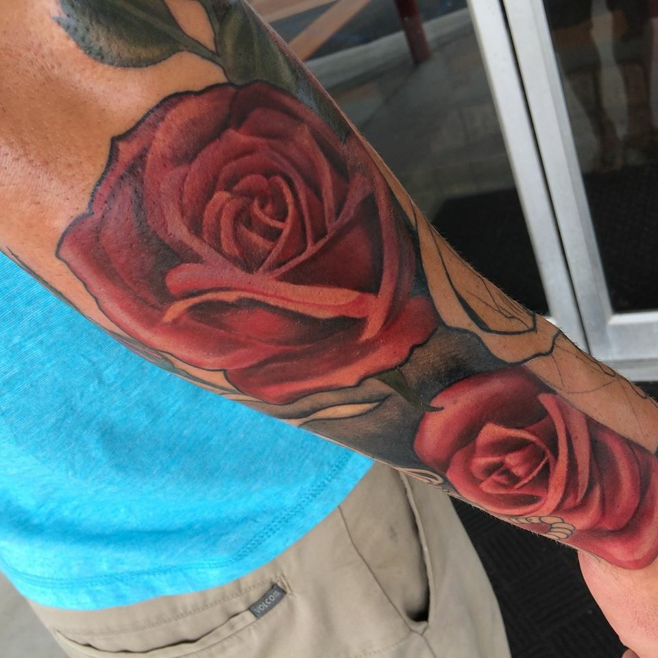 rose, tattoo, art, ink, realistic heart, realism, nakotagarza,