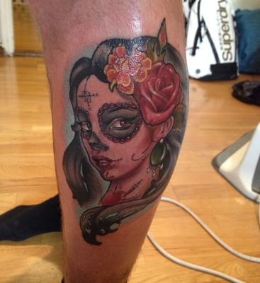 day of the dead, dia de los muertos, tattoo, woman, roses, neotraditional tattoo, artnouveau