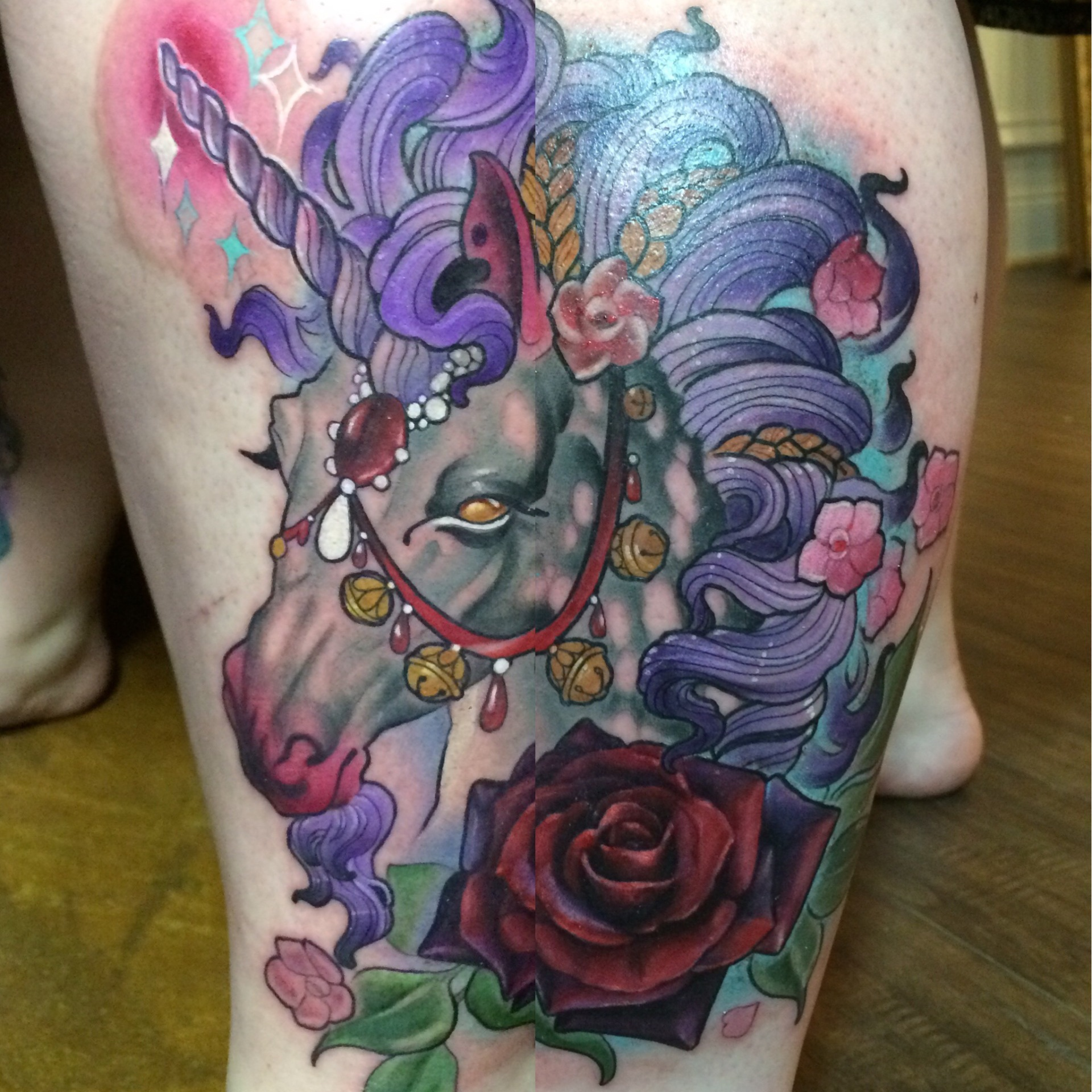 unicorn tattoo, unicorn, art, neotraditional, art nouveau, fantasy art
