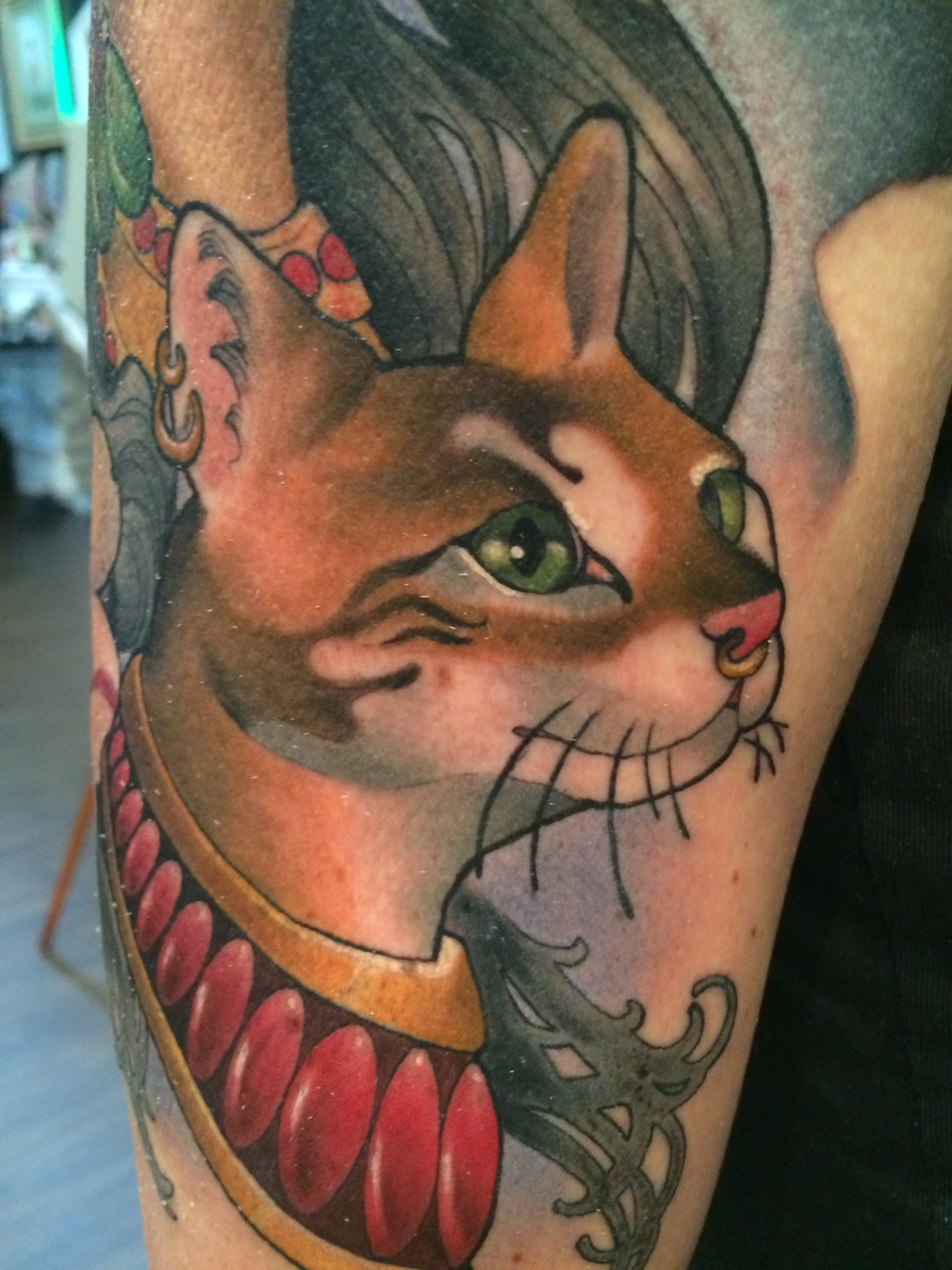 cat, cat tattoo, neo traditional, art nouveau, nakota garza