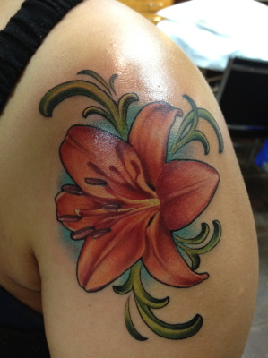 Lily, lily tattoo, art nouveau, tattoo, nakota garza