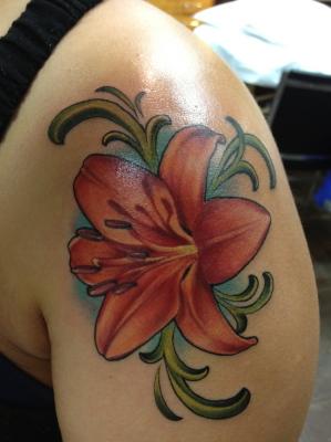 Lily, lily tattoo, art nouveau, tattoo, nakota garza