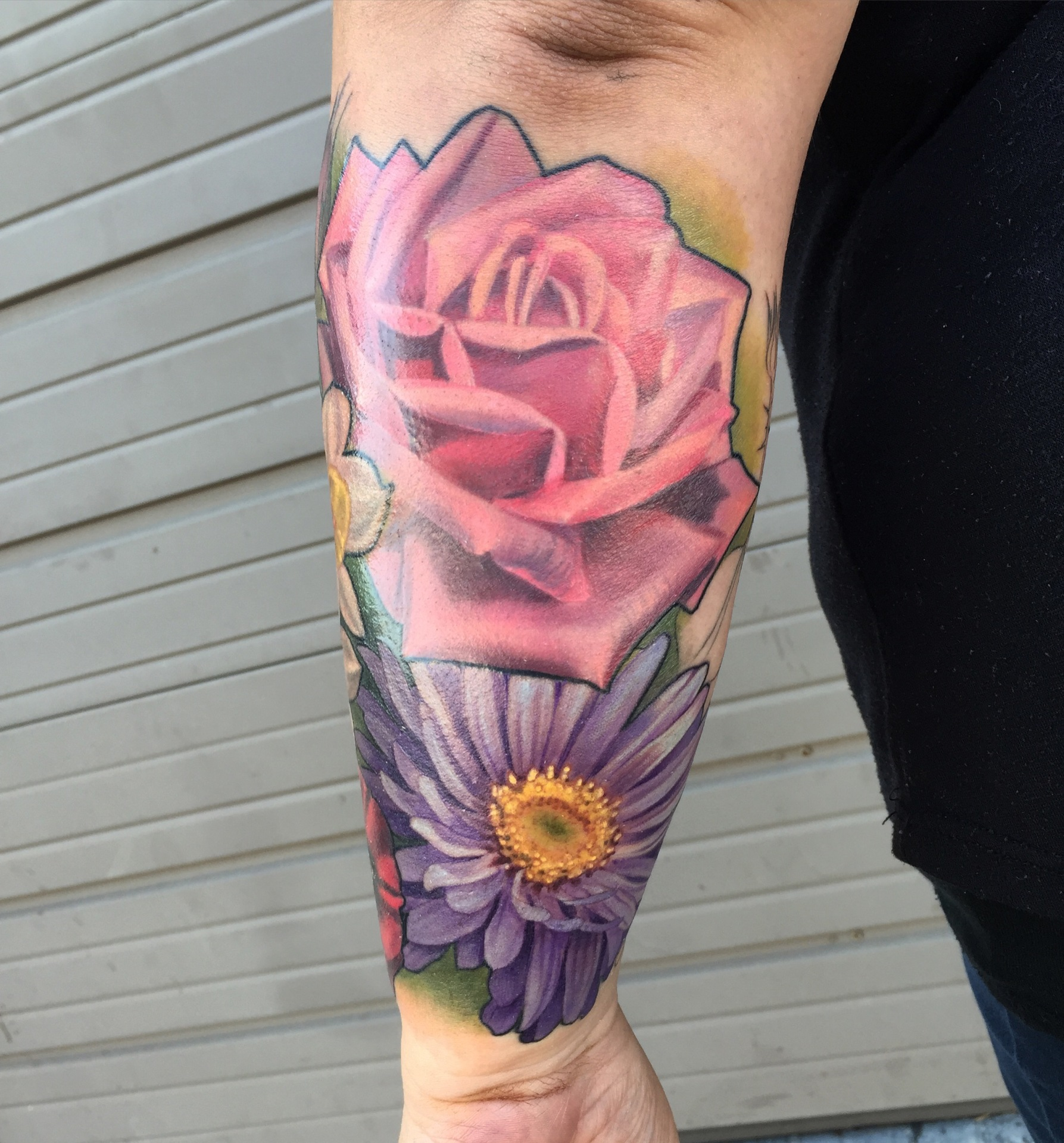 rose, daisy, tattoo, art, california, losangeles, realism