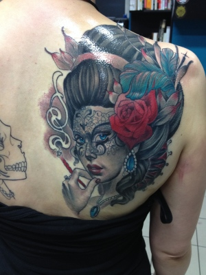 Venetian, tattoo, art, portrait, makupartist, makeup