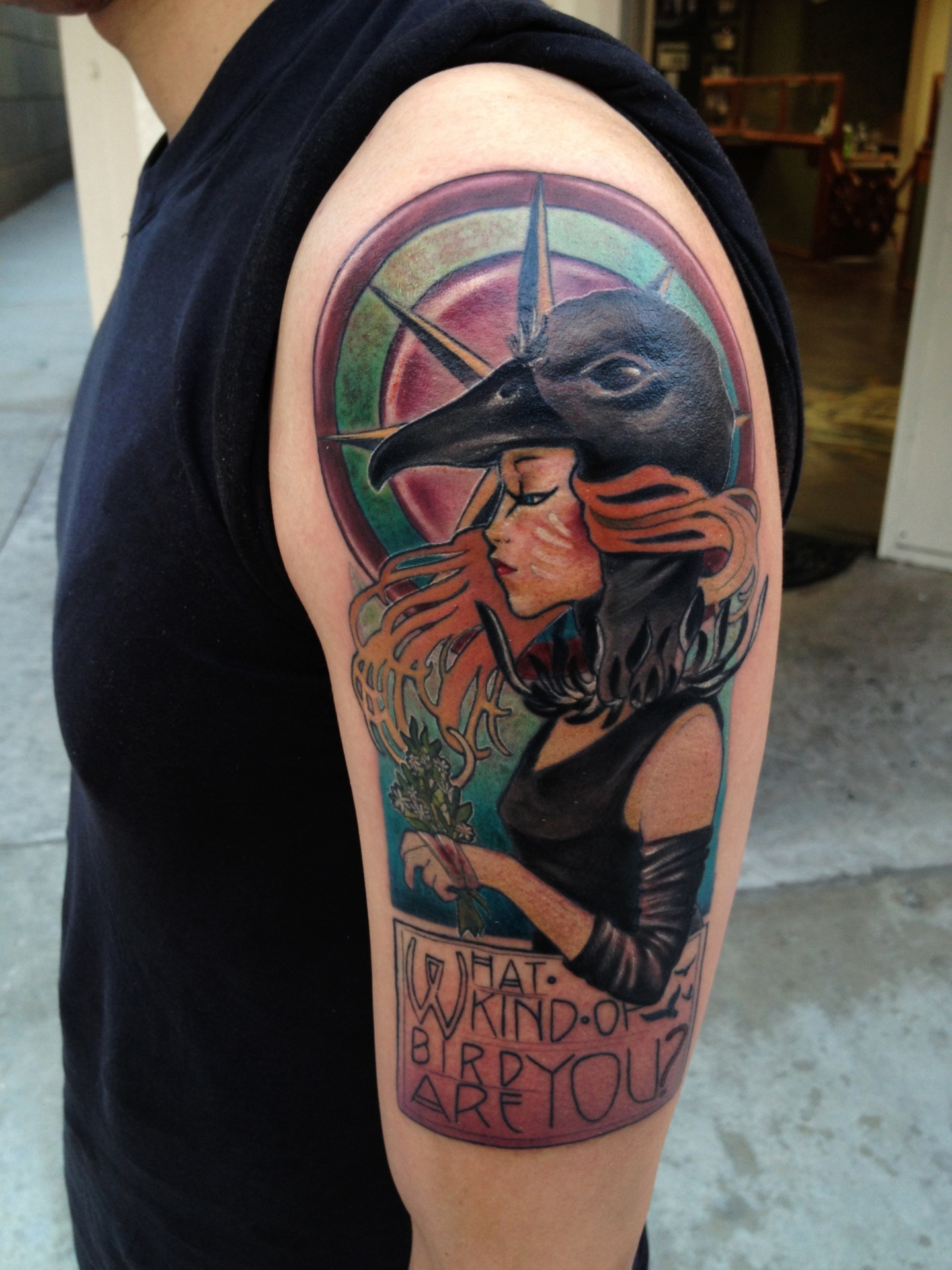 art nouveau, art nouveau tattoo, tattoo, tatouage, tatuaje, moonrise kingdom tattoo, portrait