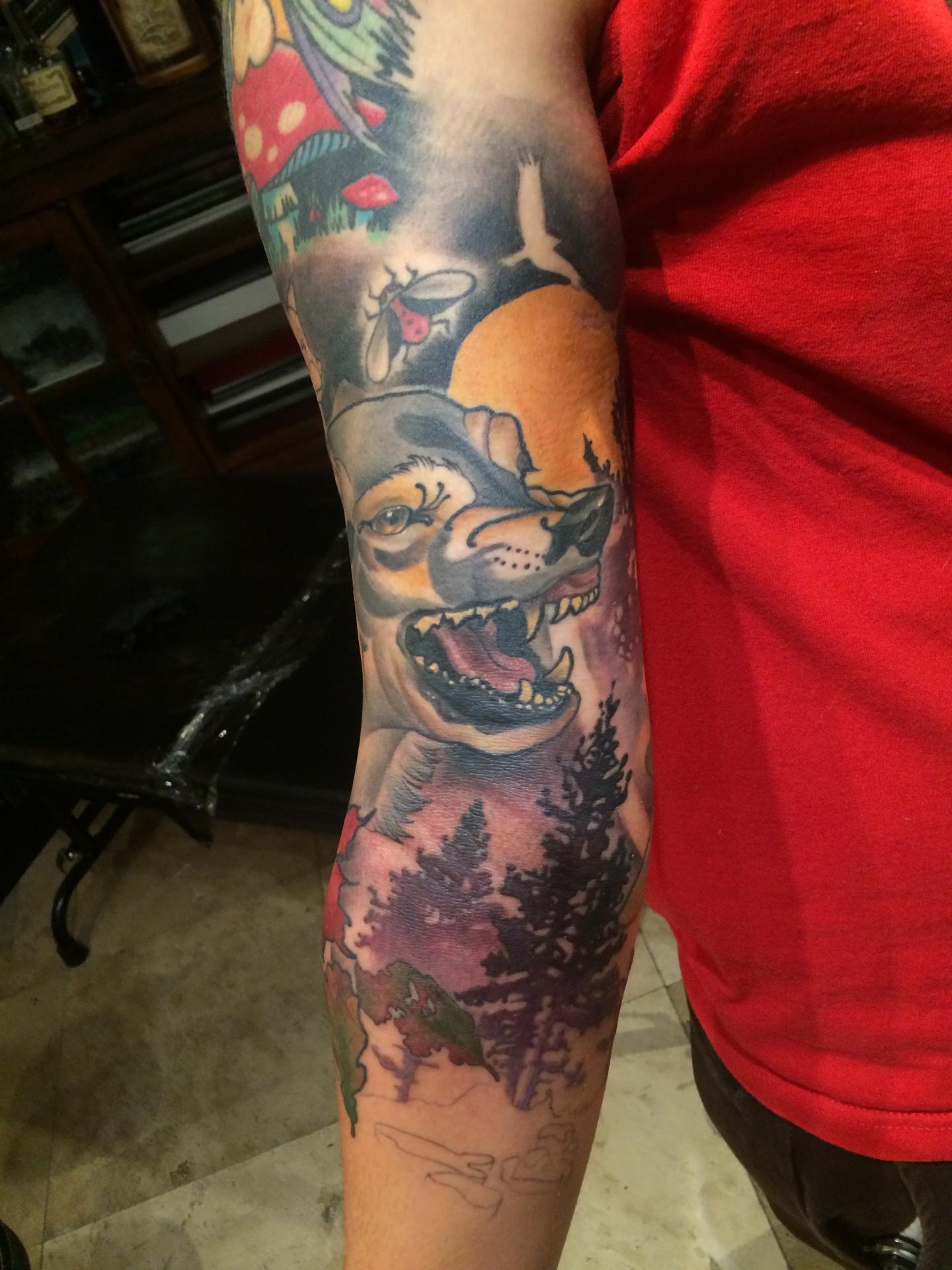 Wolf, tattoo, artnouveau, neo traditional tattoo, artist, nakota