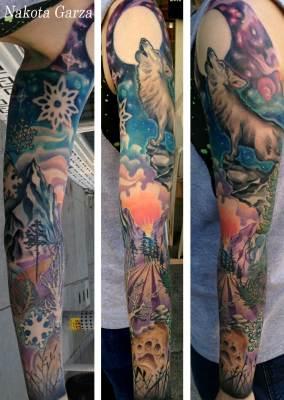 wolf tattoo, tattoo, art, nakota, sunset tattoo, realism,