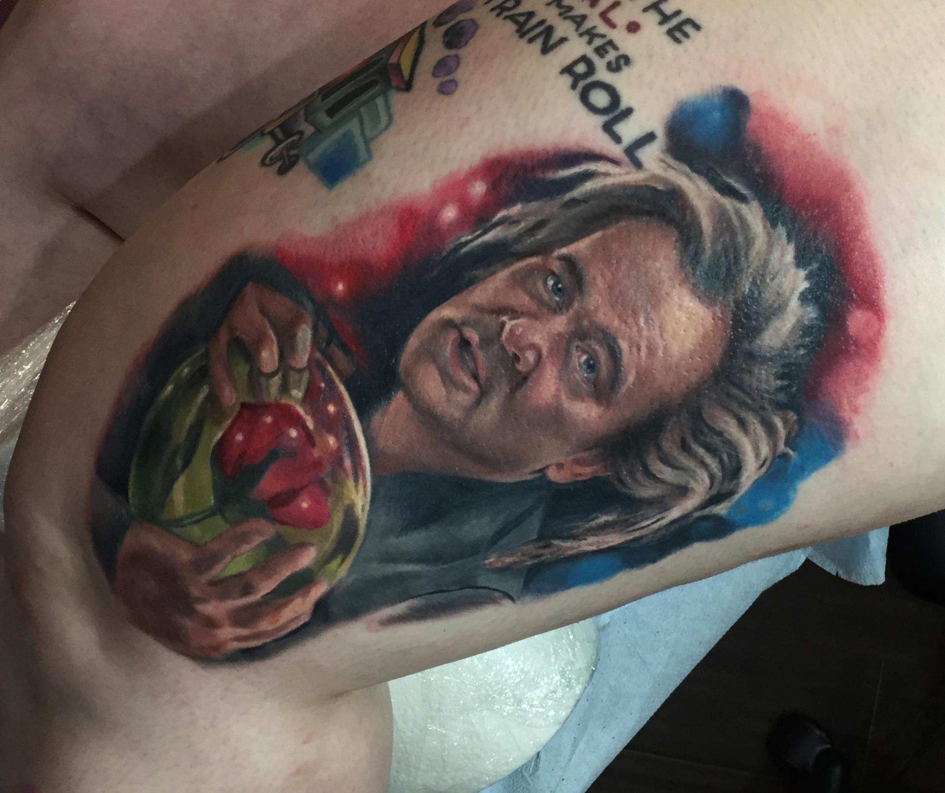 Kingpin tattoo, kingpin, bigerntattoo, big ern tattoo, bill murray, bill murray tattoo, bowling